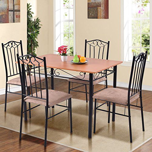 Tangkula 5 Pcs Dining Set Modern Wood Metal Dinette Kitchen Regarding Casiano 5 Piece Dining Sets (View 4 of 25)