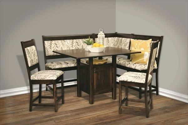 Trestle Table Corner Breakfast Nook Set Suitable And Chairs 7 Piece Throughout Mysliwiec 5 Piece Counter Height Breakfast Nook Dining Sets (View 16 of 25)