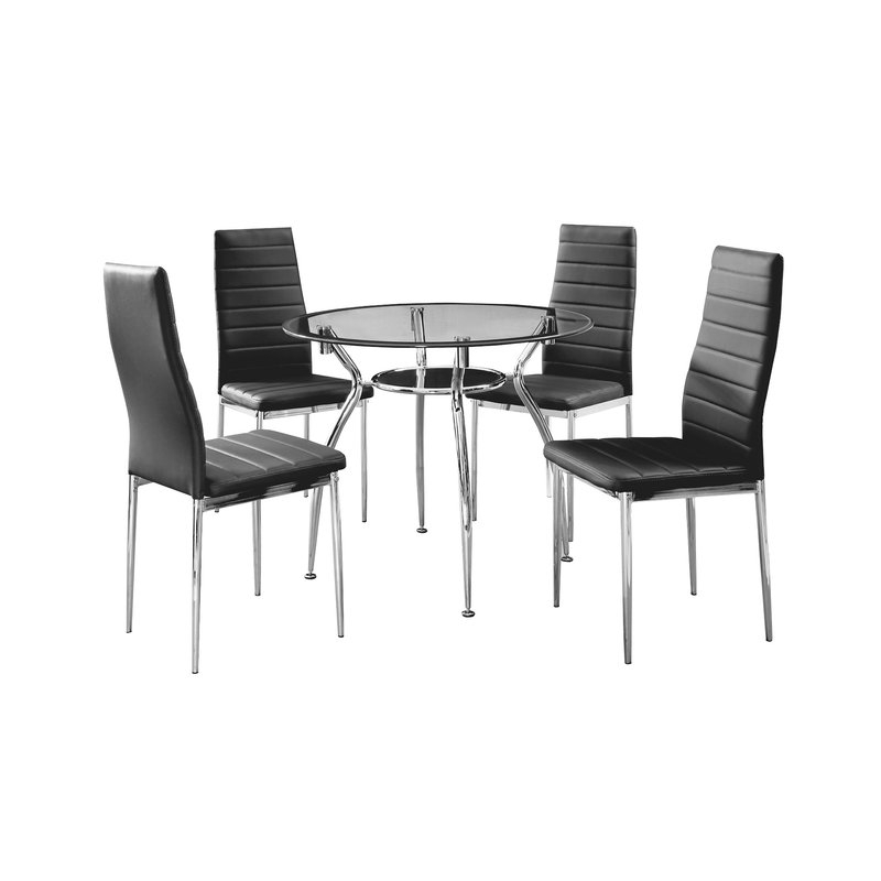 Trowbridge Metal Frame 5 Piece Dining Set Pertaining To Bettencourt 3 Piece Counter Height Solid Wood Dining Sets (Image 24 of 25)