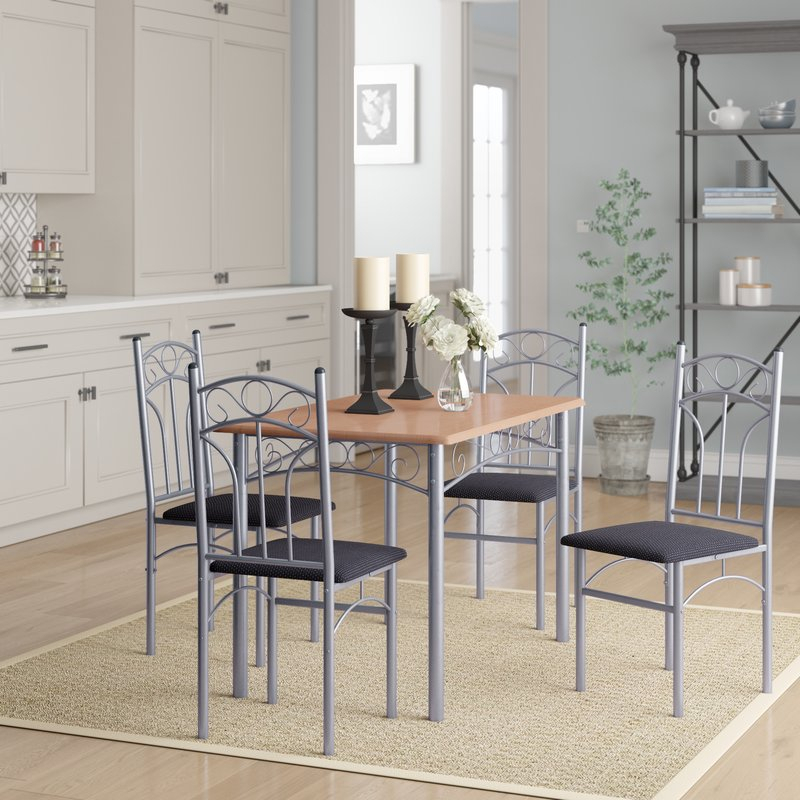 Turnalar 5 Piece Dining Set Intended For Rarick 5 Piece Solid Wood Dining Sets (Set Of 5) (Image 23 of 25)