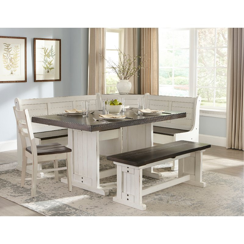 Two Tone French Country 5 Piece Corner Dining Set – Bourbon County Inside Ligon 3 Piece Breakfast Nook Dining Sets (View 23 of 25)