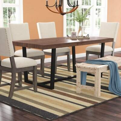 Union Rustic Neely Distressed Solid Wood Dining Table Union Rustic inside Ephraim 5 Piece Dining Sets