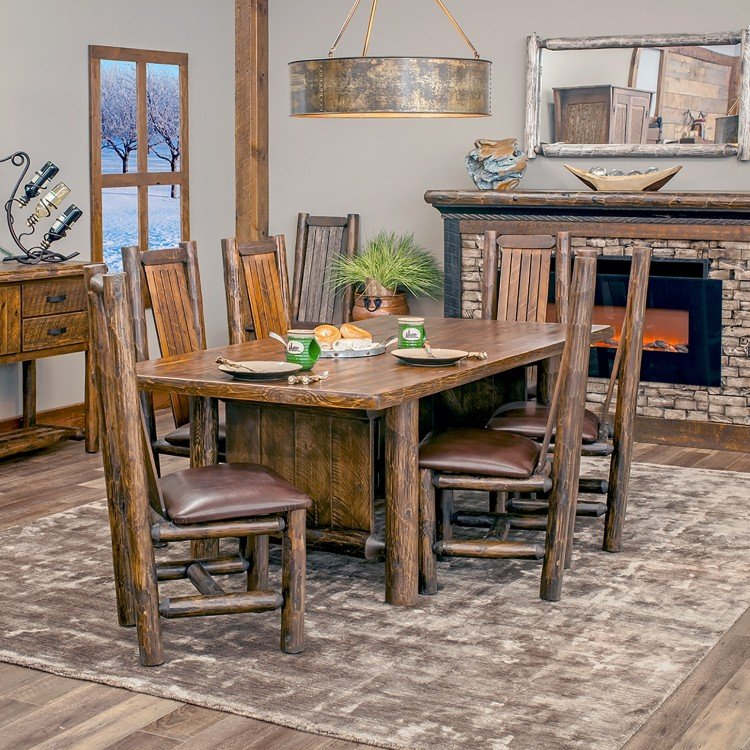 Unique Rustic Dining Room Tables, Barnwood & Log Dining Tables inside Northwoods 3 Piece Dining Sets