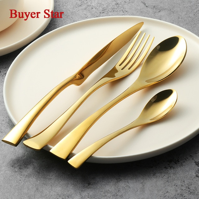 Us $110.0 |Golden Dinnerware Set Steel Luxury Kaya Cutlery Set Top Quality  24 Pieces Tableware Knives Forks Dining Dinner Set Western Food-In regarding Kaya 3 Piece Dining Sets