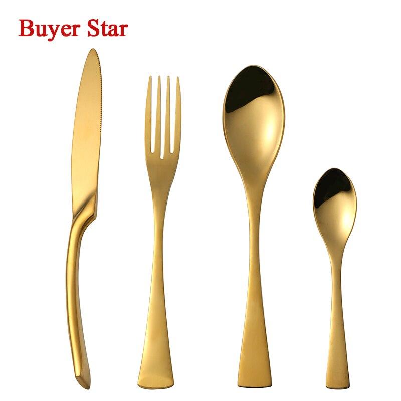 Us $110.0 |Golden Dinnerware Set Steel Luxury Kaya Cutlery Set Top Quality  24 Pieces Tableware Knives Forks Dining Dinner Set Western Food-In throughout Kaya 3 Piece Dining Sets