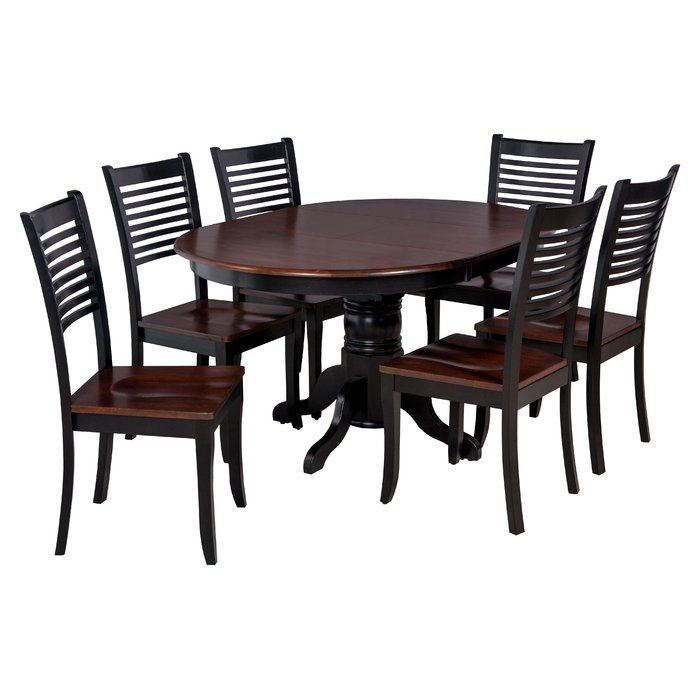 Valleyview 7 Piece Solid Wood Dining Set For Hanska Wooden 5 Piece Counter Height Dining Table Sets (Set Of 5) (Image 25 of 25)