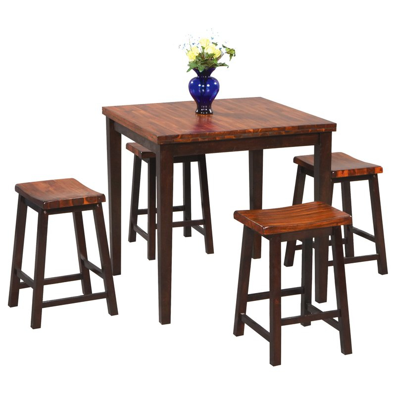 Weitzel 5 Piece Counter Height Dining Set With Askern 3 Piece Counter Height Dining Sets (Set Of 3) (View 14 of 25)