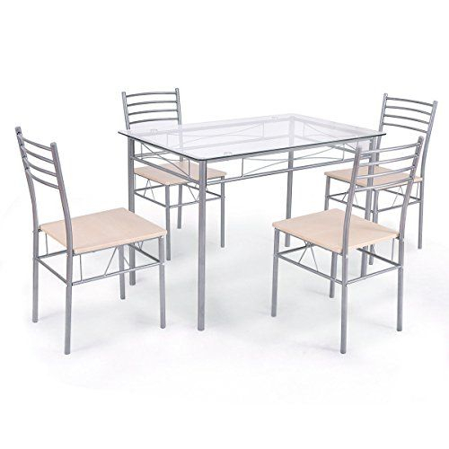 White Bear & Brown Rabbit Dining Set Table And 4 Chairs Glass Top Within Stouferberg 5 Piece Dining Sets (View 8 of 25)