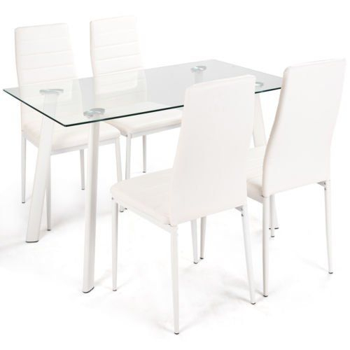 White Bear & Brown Rabbit Dining Set Tempered Glass Top Table & 4 Intended For Travon 5 Piece Dining Sets (Image 25 of 25)