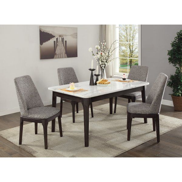 White Marble And Charcoal 5 Piece Dining Set | Dining Room (Image 23 of 25)