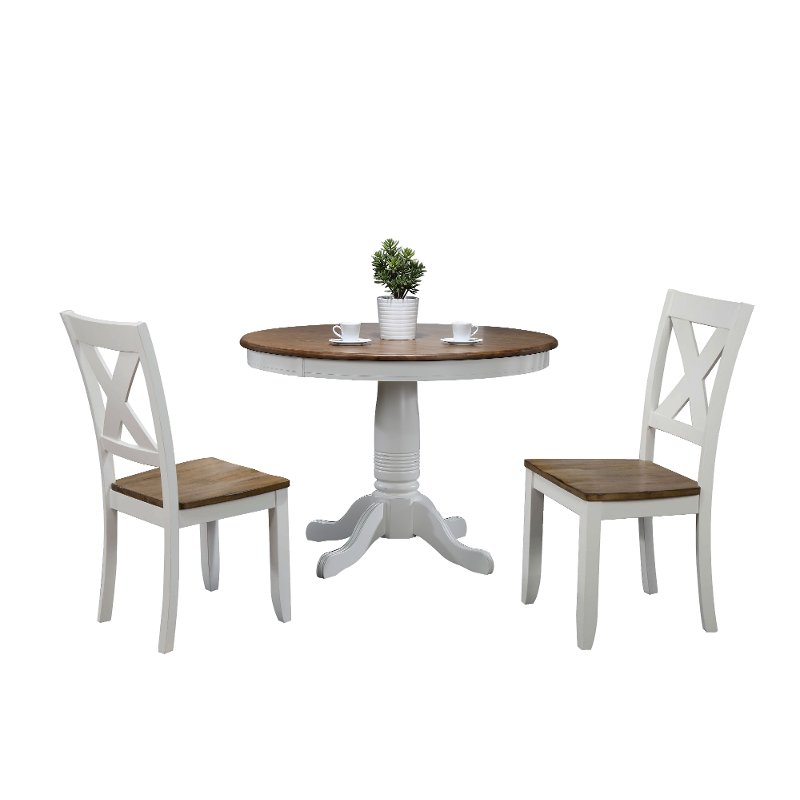 White Round 3 Piece Dining Set – Pacifica | Rc Willey Furniture Store Within 3 Piece Dining Sets (View 18 of 25)