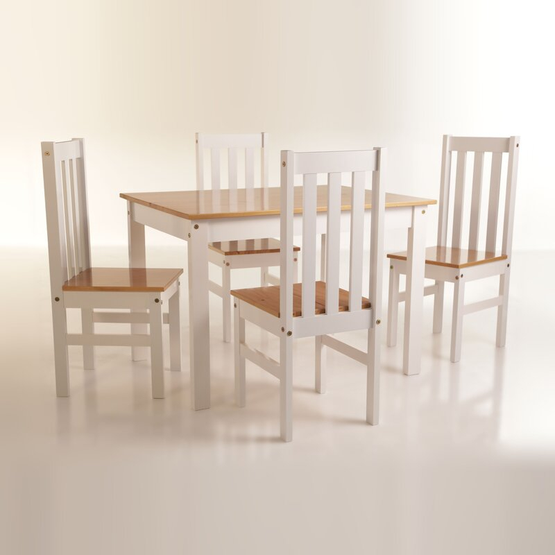 Willeford Complete 5 Piece Solid Wood Dining Set Intended For Yedinak 5 Piece Solid Wood Dining Sets (Image 14 of 25)