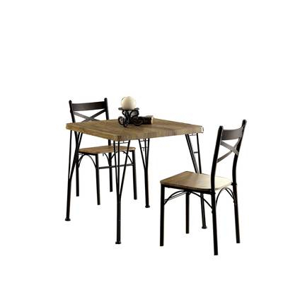 Williston Forge Marquez Industrial 7 Piece Solid Wood Dining Set Inside Bedfo 3 Piece Dining Sets (View 7 of 25)