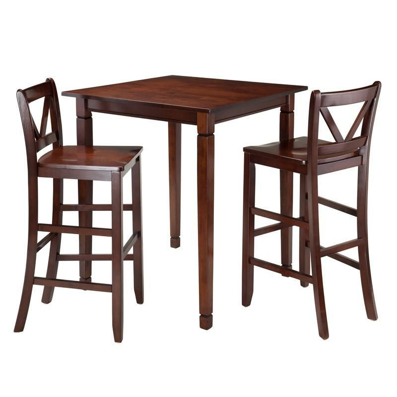 Winsome Wood 94378 Kingsgate 3 Pc Dining Table With 2 Bar V Back Throughout Winsome 3 Piece Counter Height Dining Sets (View 5 of 25)