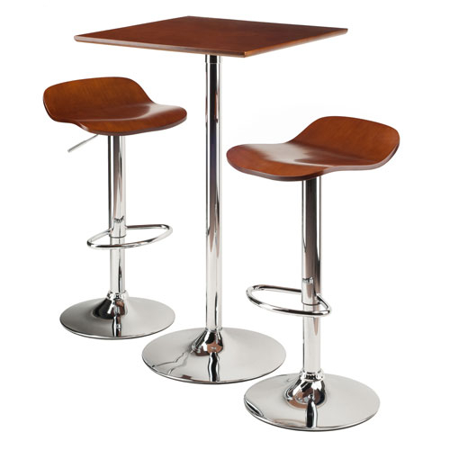 Winsome Wood Kallie 3 Piece Set Pub Table Bar Height Stools Within Winsome 3 Piece Counter Height Dining Sets (View 22 of 25)