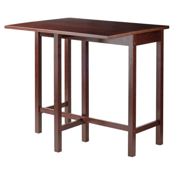 Winsome Wood Lynnwood Drop Leaf High Table In Walnut 94149 – The Intended For Winsome 3 Piece Counter Height Dining Sets (View 3 of 25)