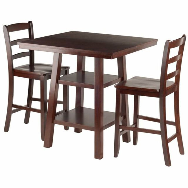 Winsome Wood Orlando 3 Piece Set High Table 2 Shelves With 2 Ladder Back Stools Pertaining To Winsome 3 Piece Counter Height Dining Sets (View 4 of 25)