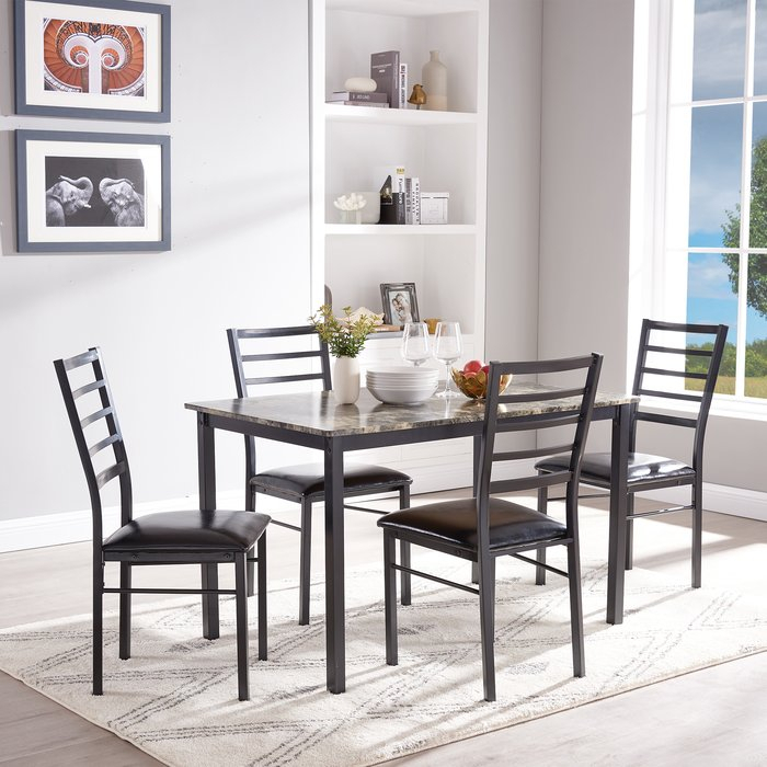 Winston Porter Mukai 5 Piece Dining Set | Wayfair In Taulbee 5 Piece Dining Sets (View 3 of 25)