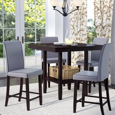 Winston Porter Nordstrom 5 Piece Dining Set & Reviews | Wayfair With Regard To Anette 3 Piece Counter Height Dining Sets (Image 25 of 25)