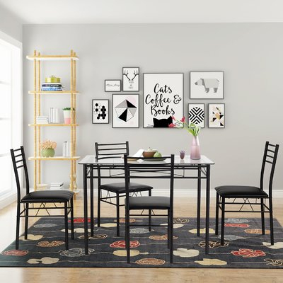 Winston Porter Taulbee 5 Piece Dining Set | Products | Glass Dining Within Autberry 5 Piece Dining Sets (View 13 of 25)