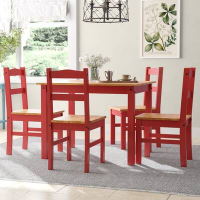 Winston Porter Turnalar 5 Piece Dining Set & Reviews | Wayfair In Rarick 5 Piece Solid Wood Dining Sets (Set Of 5) (Image 25 of 25)