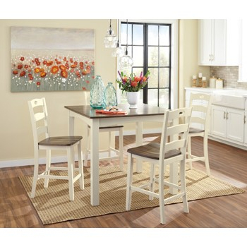 Woodanville – White/brown – Square Counter Tbl Set (5/cn) Throughout Linette 5 Piece Dining Table Sets (Image 25 of 25)