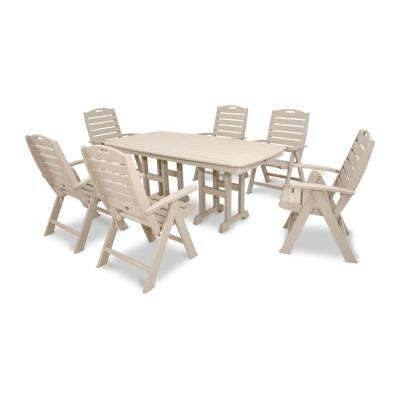 Yacht Club Sand Castle 7-Piece High Back Plastic Outdoor Patio Dining Set for Laconia 7 Pieces Solid Wood Dining Sets (Set of 7)