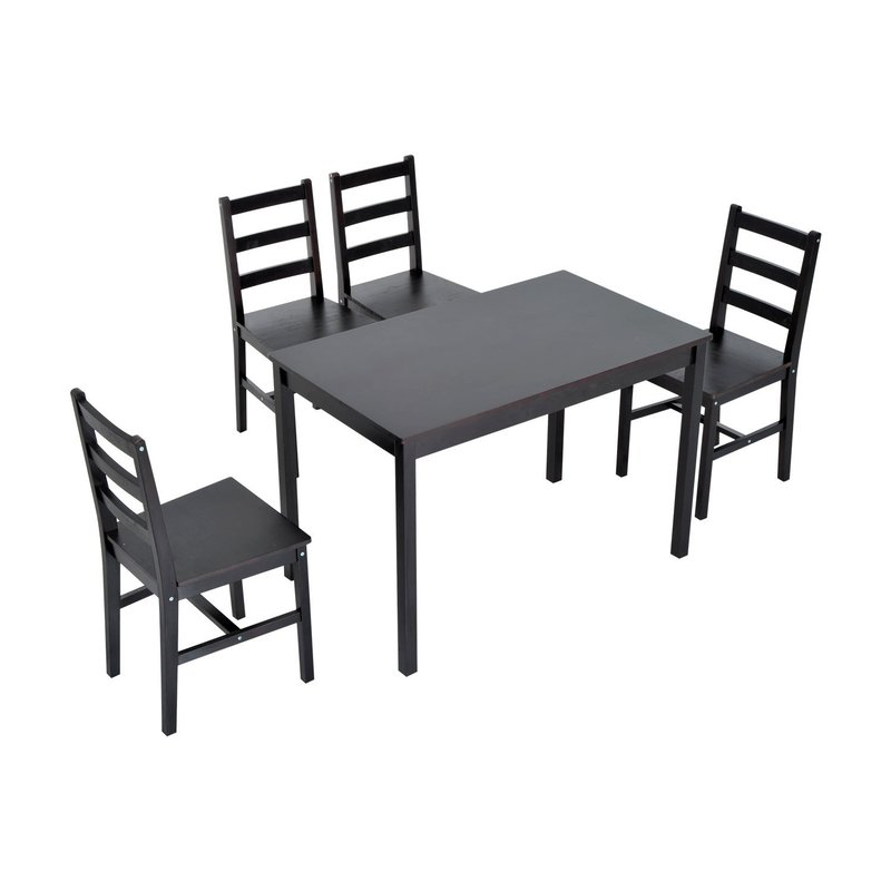 Yedinak 5 Piece Solid Wood Dining Set For Yedinak 5 Piece Solid Wood Dining Sets (Image 17 of 25)