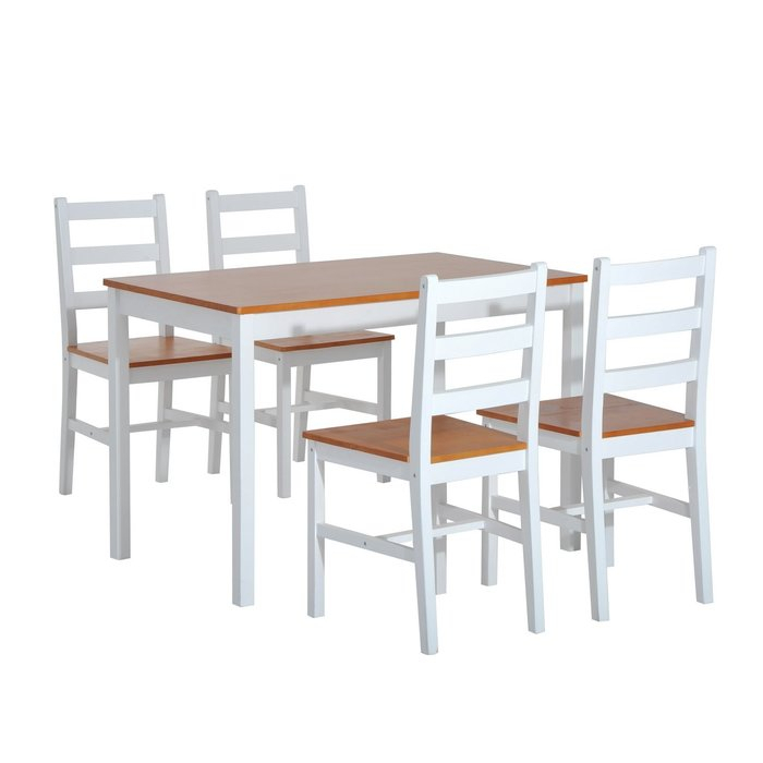 Yedinak 5 Piece Solid Wood Dining Set In Yedinak 5 Piece Solid Wood Dining Sets (Image 18 of 25)