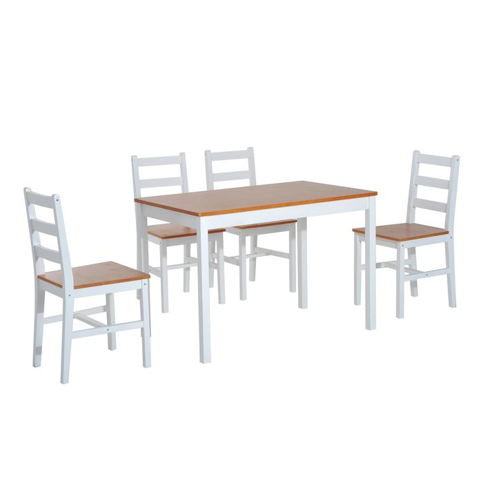 Yedinak 5 Piece Solid Wood Dining Set Inside Yedinak 5 Piece Solid Wood Dining Sets (Image 19 of 25)