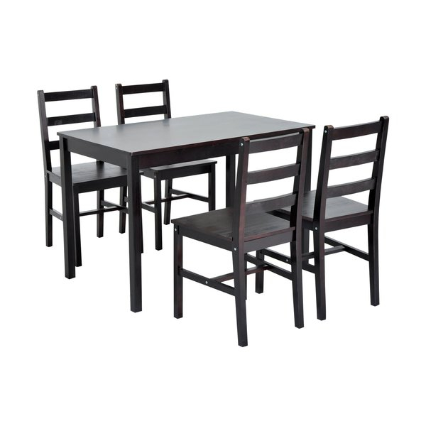 Featured Image of Yedinak 5 Piece Solid Wood Dining Sets