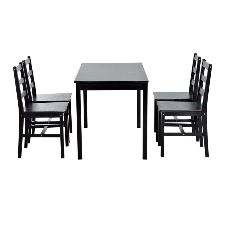 Yedinak 5 Piece Solid Wood Dining Set With Regard To Yedinak 5 Piece Solid Wood Dining Sets (Image 21 of 25)