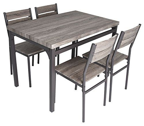 Zenvida 5 Piece Dining Set Rustic Grey Wooden Kitchen Table And 4 With Regard To Rossiter 3 Piece Dining Sets (Image 25 of 25)