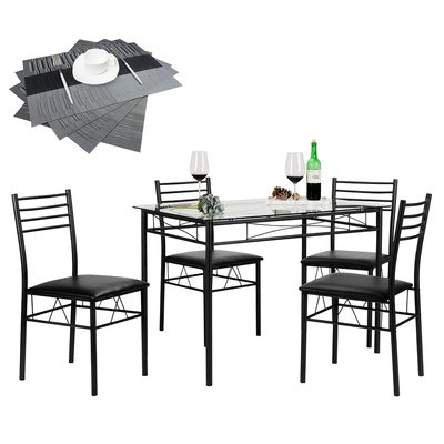 Zipcode Design North Reading 5 Piece Dining Table Set Color: Black Within North Reading 5 Piece Dining Table Sets (Image 25 of 25)