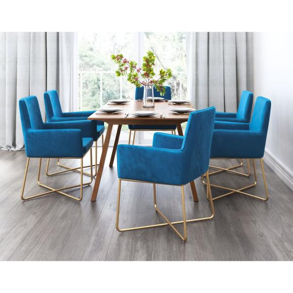 Zuo Honoria Blue Velvet Arm Chair 101146 - The Home Depot for Honoria 3 Piece Dining Sets