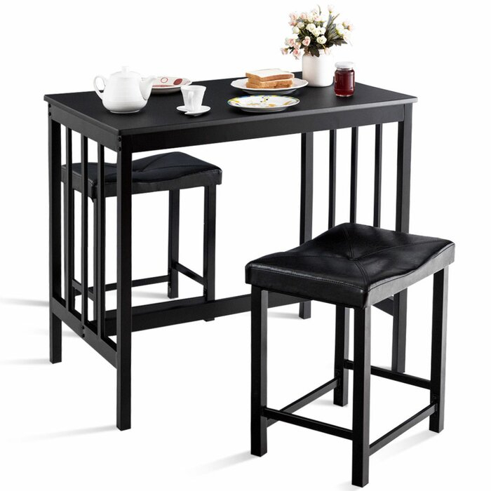 3 Piece Dining Set Fixed Table Rectangular Shaped Mitzel 3 Intended For Miskell 3 Piece Dining Sets (View 11 of 25)