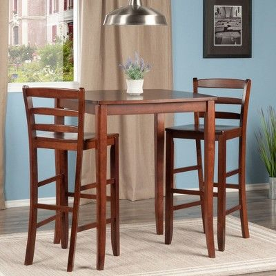 3 Piece Inglewood Set High Table With Ladder Back Bar Stools Within Winsome 3 Piece Counter Height Dining Sets (View 3 of 25)
