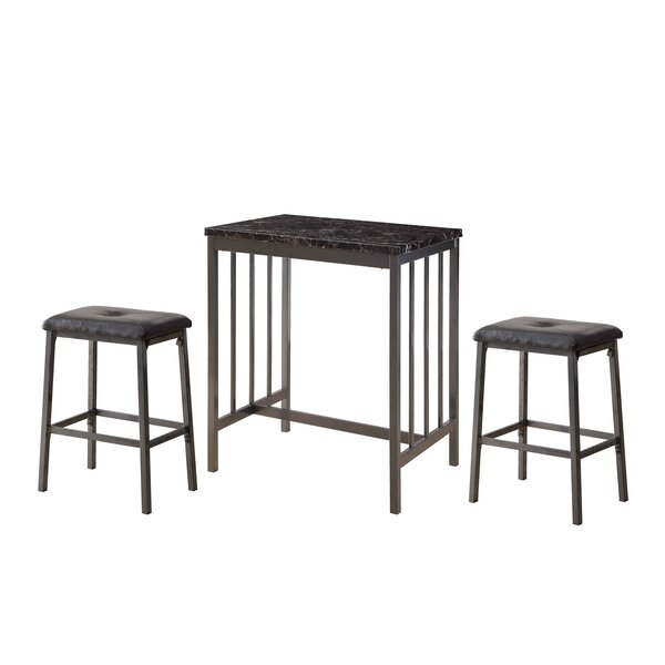 Acme Venator 3 Pieces Pack Counter Height Set In Grey, Faux Marble And Black Pu With Crownover 3 Piece Bar Table Sets (View 11 of 25)