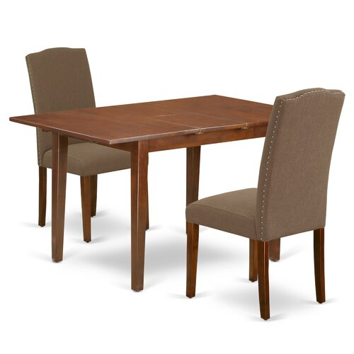 Arellanes 3 Piece Extendable Solid Wood Dining Set regarding Gebbert 3 Piece Extendable Solid Wood Dining Sets