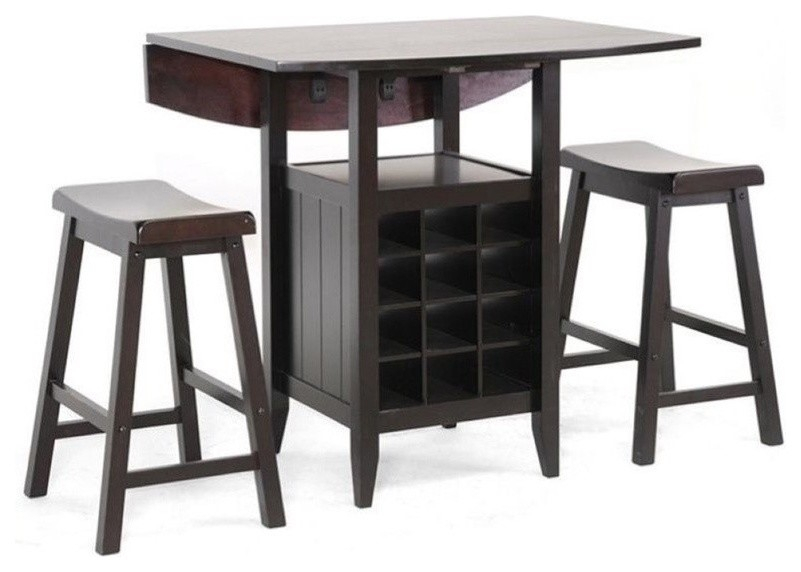 Bowery Hill 3 Piece Counter Height Dining Set In Black Regarding Winsome 3 Piece Counter Height Dining Sets (View 21 of 25)