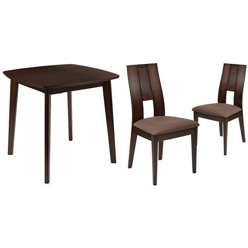Flash Furniture Greenwich 3 Piece Espresso Wood Dining Table Intended For Miskell 3 Piece Dining Sets (View 14 of 25)