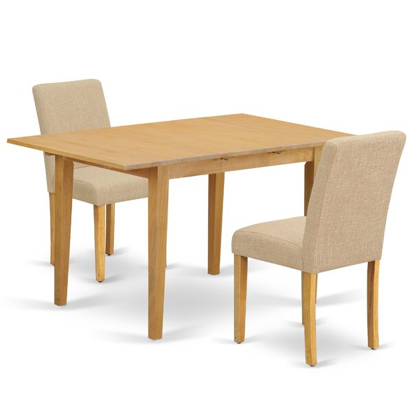 Gebbert 3 Piece Extendable Solid Wood Dining Set regarding Gebbert 3 Piece Extendable Solid Wood Dining Sets