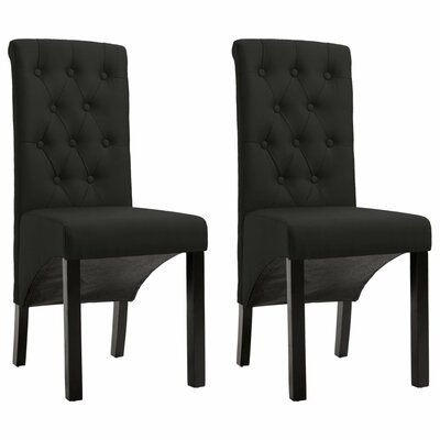 Vidaxl Vidaxl Dining Chairs 2 Pcs Black Fabric | Fabric Pertaining To Miskell 3 Piece Dining Sets (View 21 of 25)