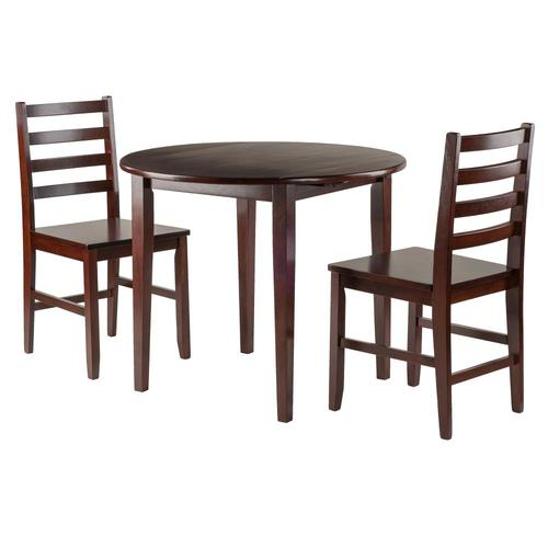 Winsome Wood Clayton Walnut Dining Set With Round Table At With Winsome 3 Piece Counter Height Dining Sets (View 16 of 25)