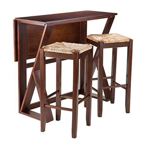 Wood & Style Premium Décor 3 Pc Drop Leaf High Table, 2 29 Regarding Winsome 3 Piece Counter Height Dining Sets (View 6 of 25)