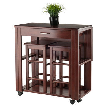 Ws 94331 Fremont Collection 3 Piece Space Saver Dining Set Pertaining To Winsome 3 Piece Counter Height Dining Sets (View 7 of 25)