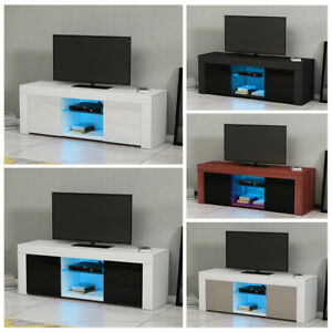 120Cm Modern Tv Unit Stand Cabinet High Gloss Front & Matt With Well Known Zimtown Tv Stands With High Gloss Led Lights (View 11 of 15)