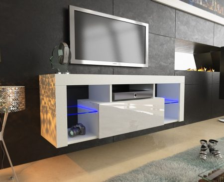 130Cm White Matt & Gloss Modern Tv Unit With Led Lights Intended For Well Known Hannu Tv Media Unit White Stands (View 2 of 15)