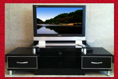 160 Cm Long Gloss Black Tv Unit Cabinet Silver Trim Drawer Within Most Up To Date Black Tv Cabinets With Drawers (View 8 of 15)