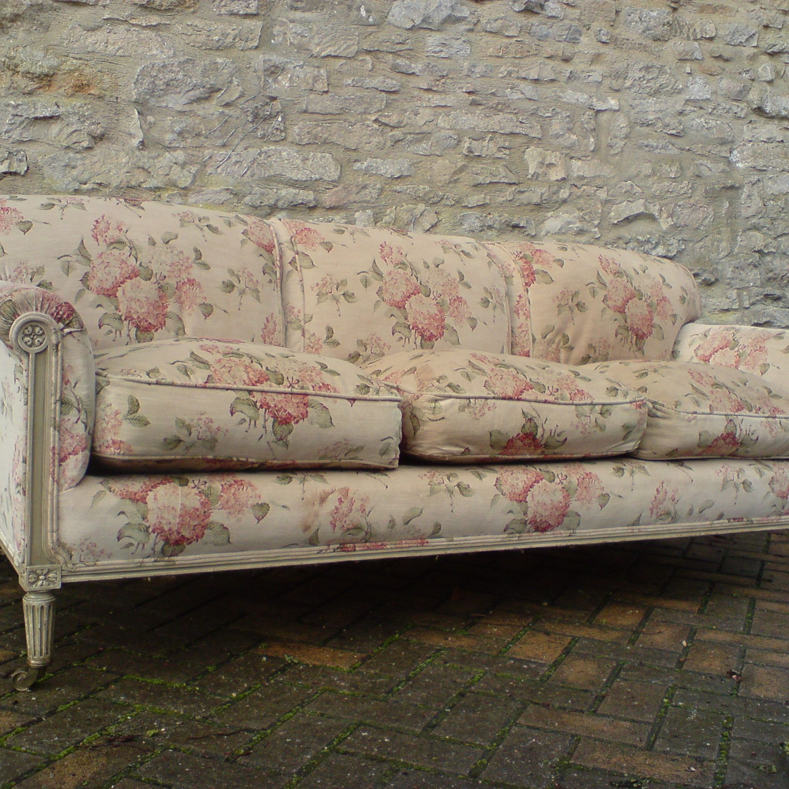 1870 1890 Antique Howard & Sons Sofa   Cottage Style Sofa Intended For Shabby Chic Sofas (View 3 of 15)